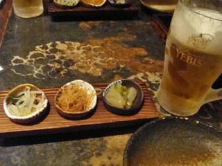 ビールとお通し3種